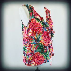 Violet + Claire Pineapple Ruffle Wrap Top Sz Med